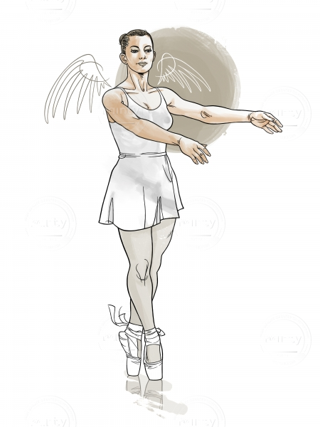 Ballet dancer on the tips (with wings)