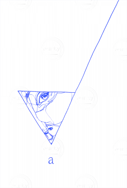 girl is looking through a triangle