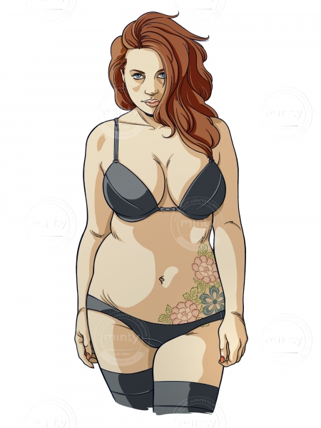 Red hair woman in lingerie with tattoo