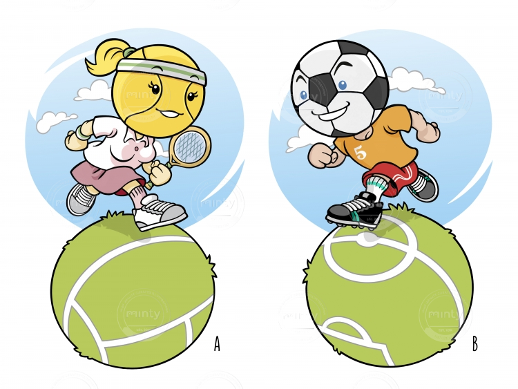 Tennis and Soccer 'BallHeads' run on a spherical field