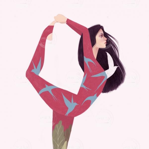 Girl with long hair doing yoga
