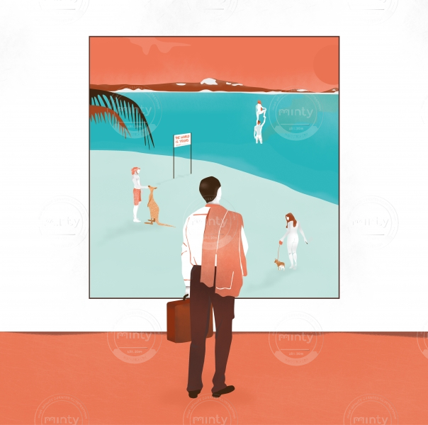 Holiday man standing in front of the picture of the beach
