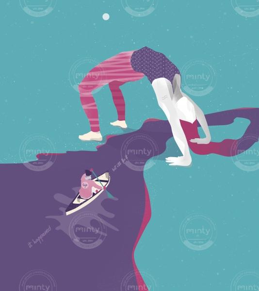 Ship sailing on the hair with a girl doing gymnastic bridge