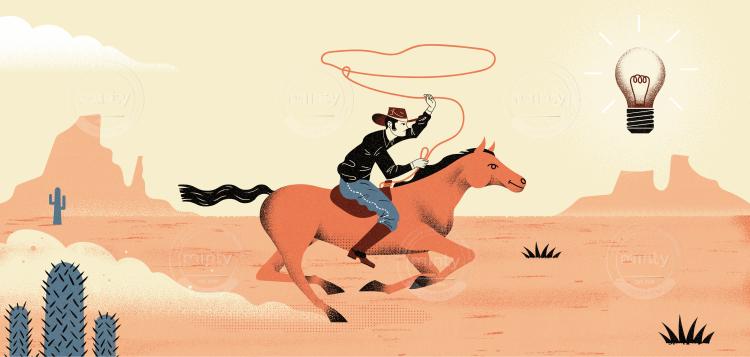 Ideas Searcher - Cowboy chasing ideas