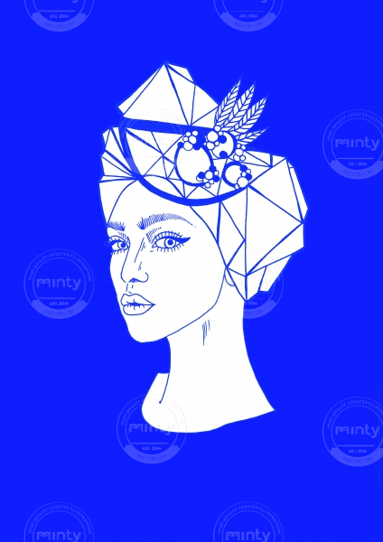 Woman on blue background with fruits in her hair