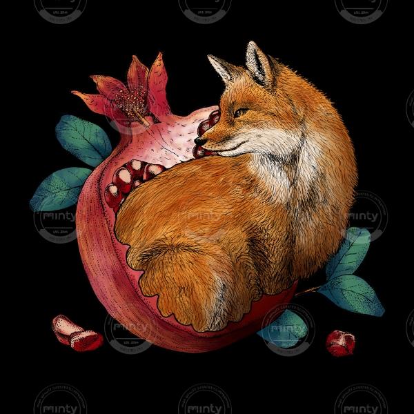 Fox and pomegranate