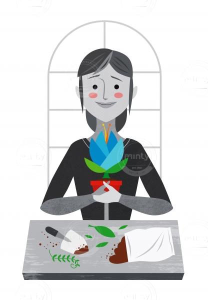 Girl planting flower in a pot