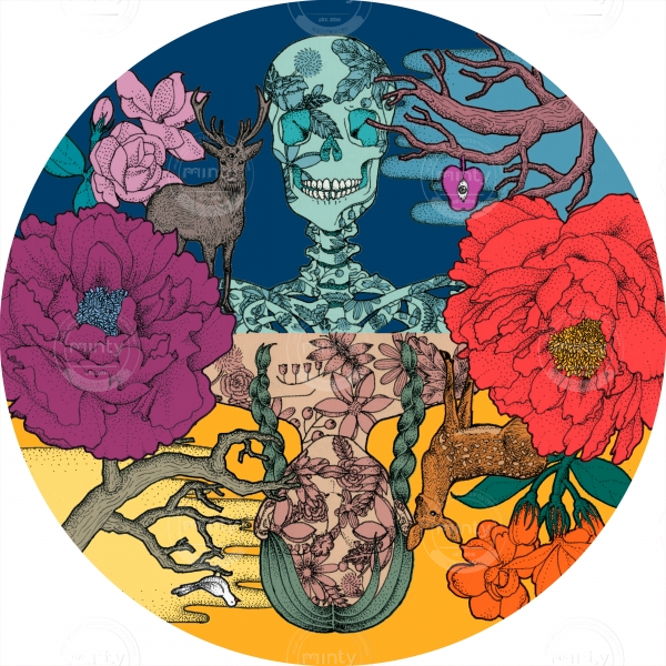 On the other side-  skull and girl among the flowers