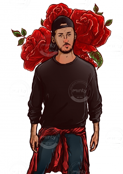 Young cool man  with cap on and roses in his back