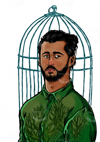 Bearded young man with long hair and  a bird cage