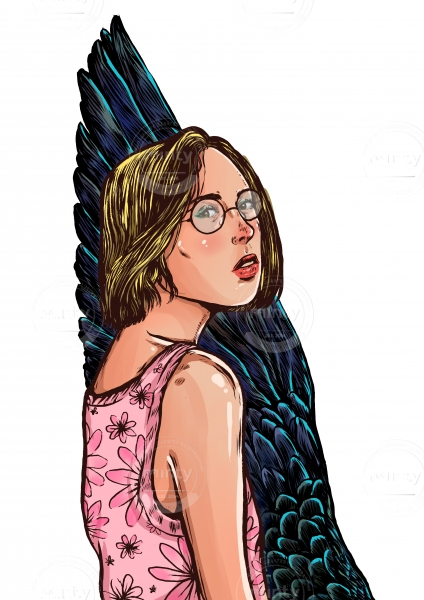 Blond Girl with glasses and a bird wing in her back