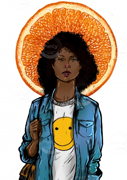 Black girl with smiley face t-shirt and orange slice in her back