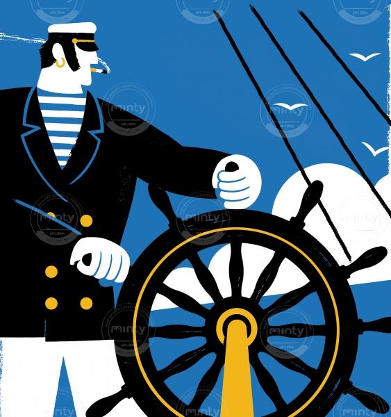 Capitan on a boat