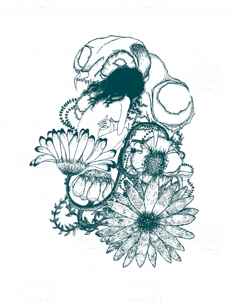 skull with flowers and nude girl