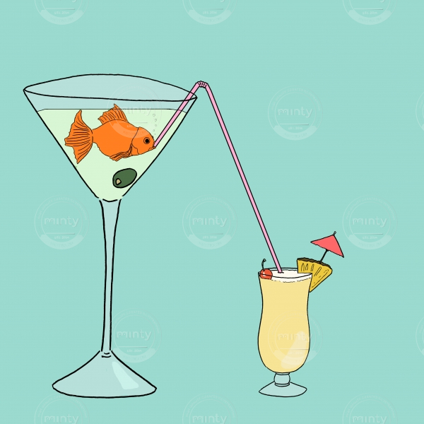 Goldi gold fish drinking drink from a glass