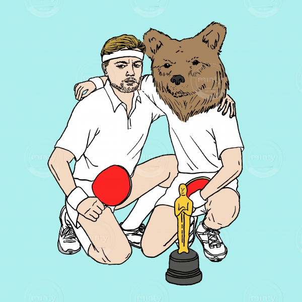 Leonadro DiCaprio with Oscar and bear