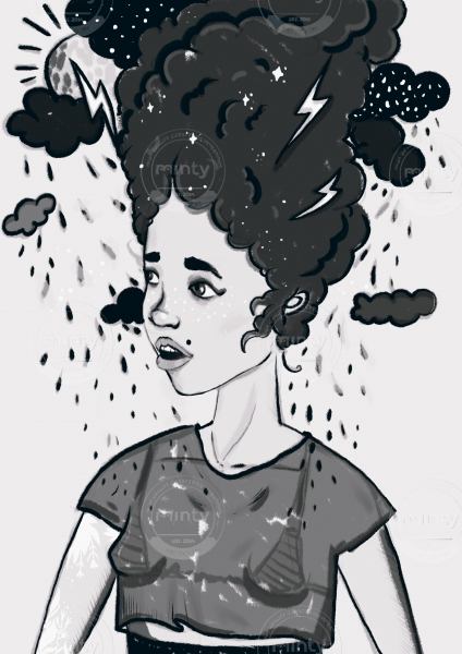 Girl with a head in clouds