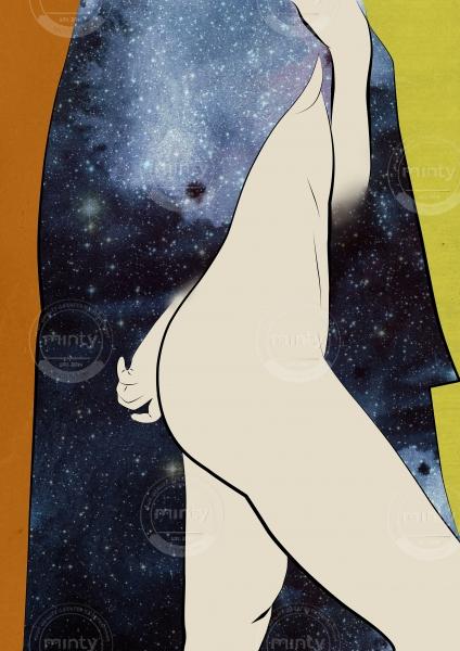 Nude wearing black universe