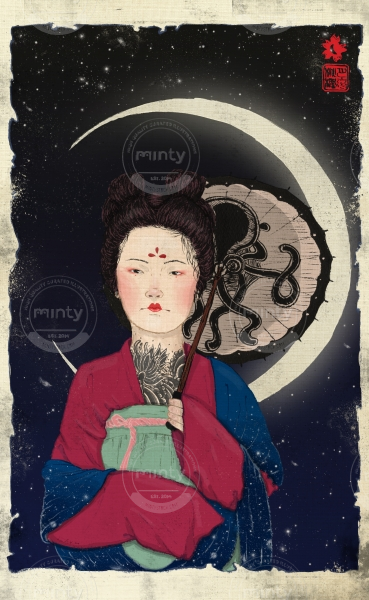 Woman with umbrella under the moon