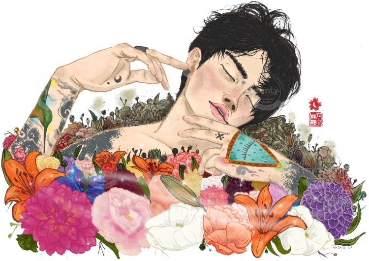 This is not Ophelia, a men surrounded by flowers