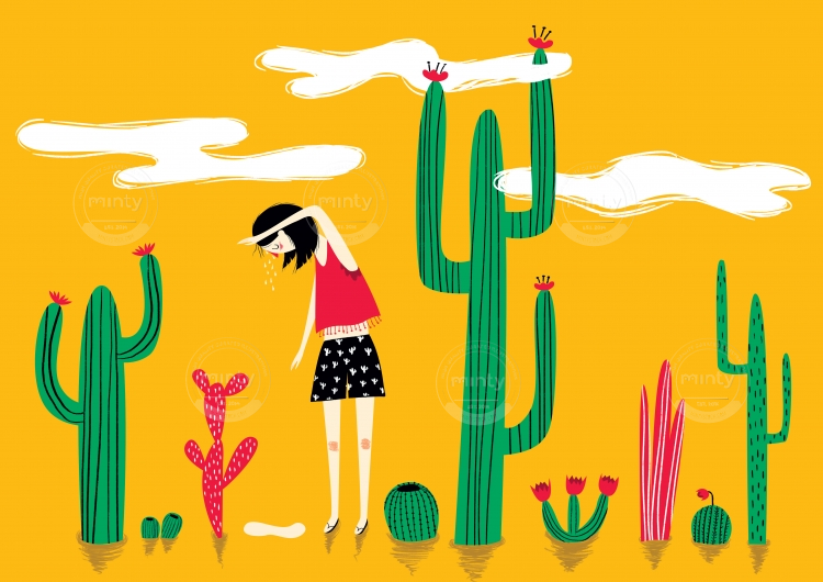Summer heat girl among cactuses