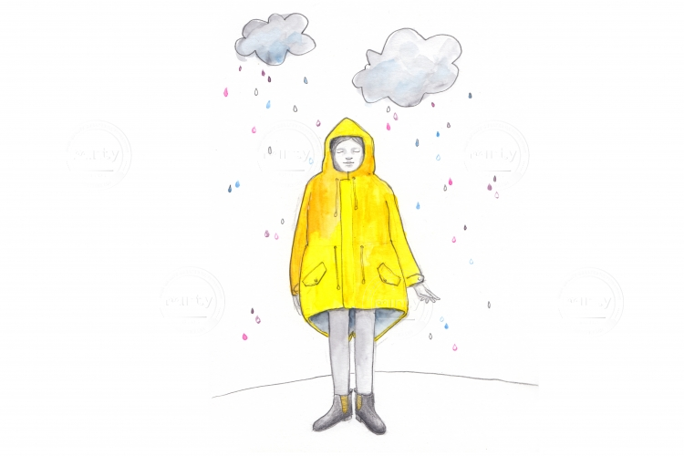 Girl in a raincoat