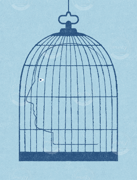 Face in a cage