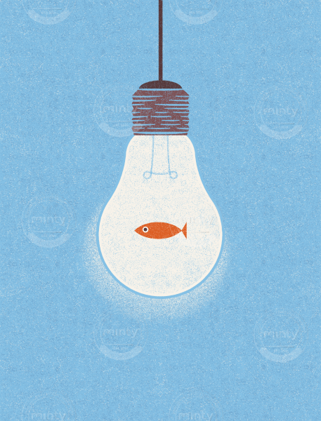 Idea or fish in a lightbulb