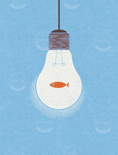 Idea or fish in a lightbulb