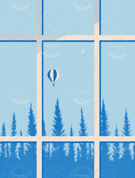 Ballon flying behind the window