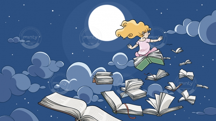 Girl flies in the night on a flock of books