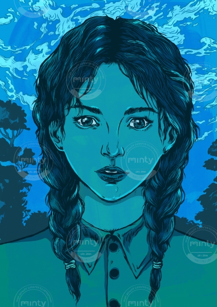 Blue girl with hair braids