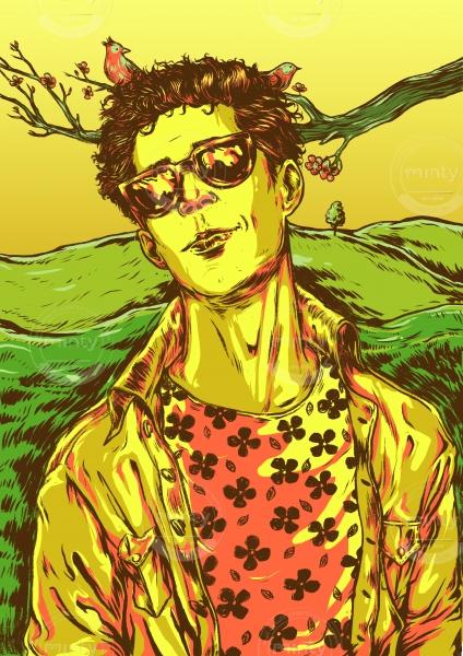 Spring boy wearing sunglasses