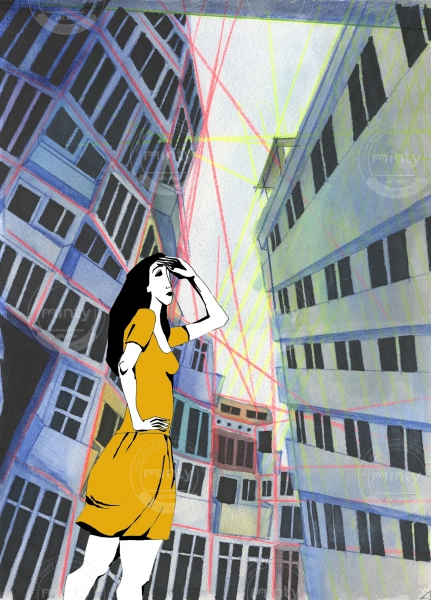 Girl in an orange dress shading her eyes on a city street between tall buildings.