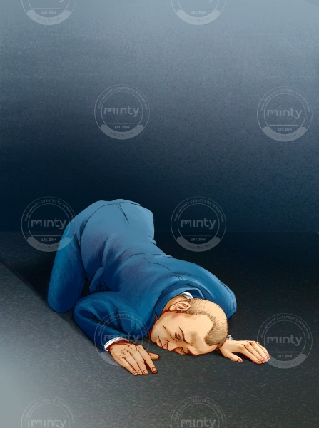 Sleeping: A man in a business suit lying on the floor