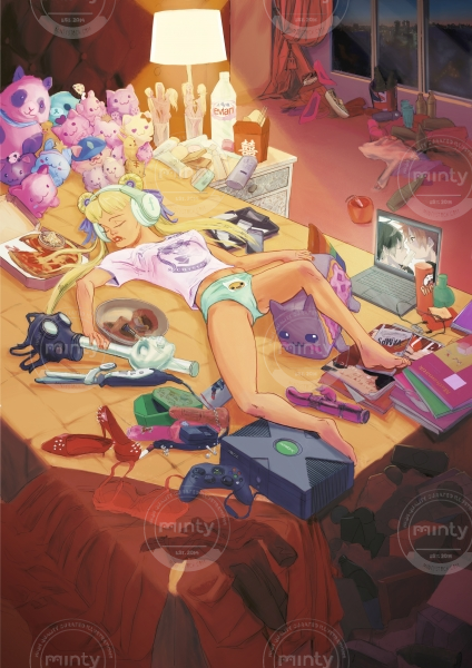 Declining Nude: A sexy spoiled brat lying on a bed littered with consumerist stuff