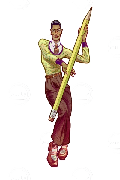 A brown skinned man dressed in 1920ies fashion posing with a huge pencil in his hands