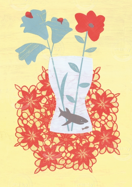 A shark in a flower vase