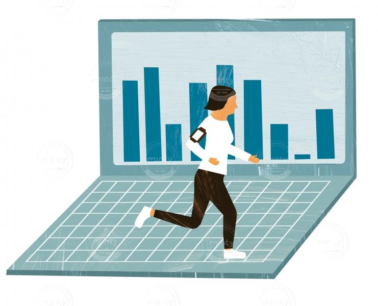 Runnig woman measuring her performance via smart device