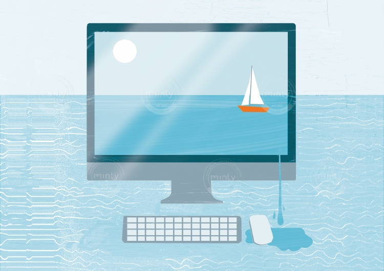 A boat is sailing on the desktop