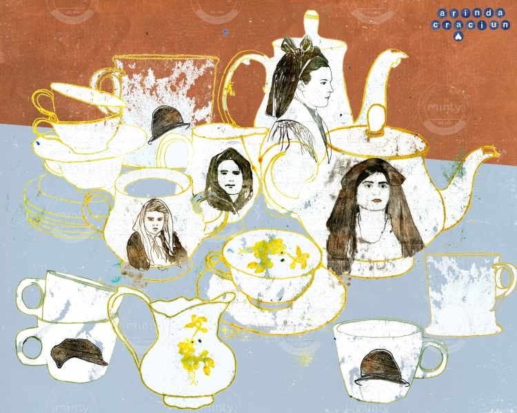 Portraits on cups tea service mix