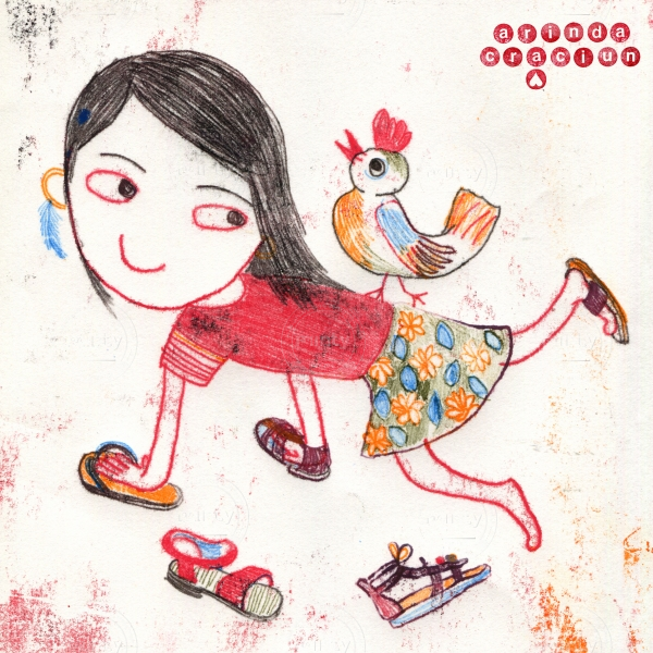 Girl trying summer shoes with bird