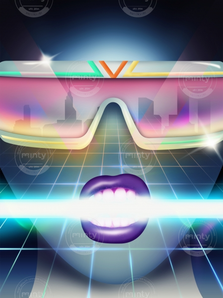 Women face in sunglasses in neon lights
