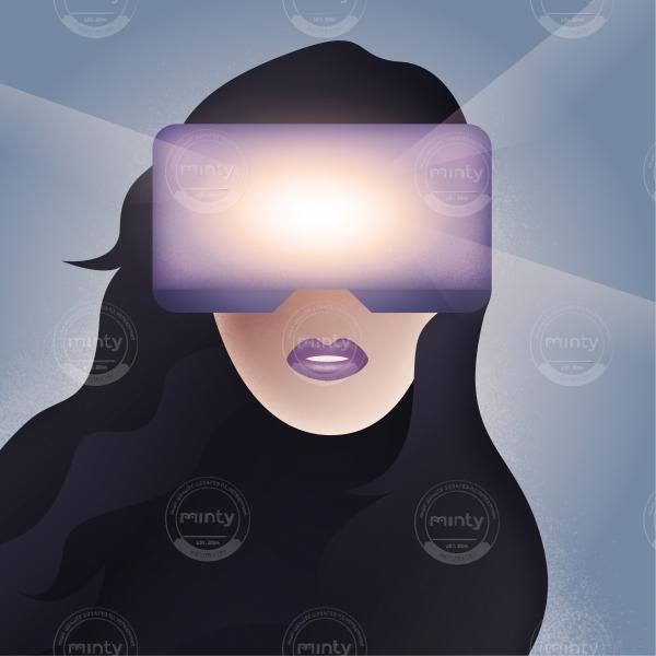 Women face in Virtual Reality helmet