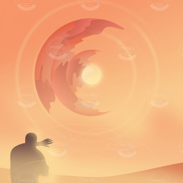Man silhouette standing in front of abstract sun