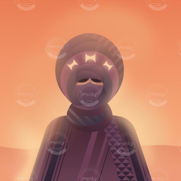 Tuareg standing in the desert