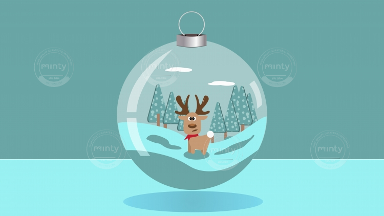 A christmas ball with a cute deer inside
