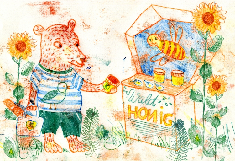 Bear eating a honney