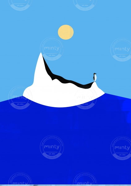 Lonely penguin on an iceberg