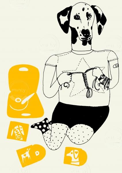 Dalmatien person listening to LP vinyls